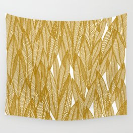Golden Yellow Leaves Wall Tapestry
