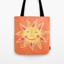 Orange Smiling Sun Face Tote Bag