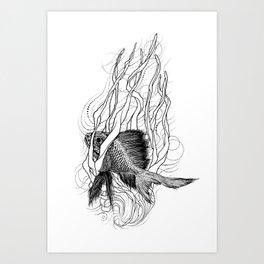 Fish In Seaweeds Art Print