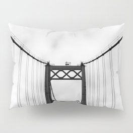 Vintage Monochromatic Black and White Bridge with Clouds Fine Art Print Pillow Sham