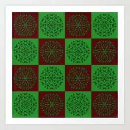 Navidad Bicolor a Cuadros 2 Art Print