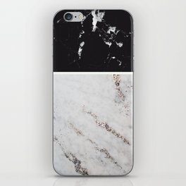 Black Marble & White Glitter Marble #1 #decor #art #society6 iPhone Skin