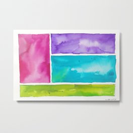 180811 Watercolor Block Swatches 8| Colorful Abstract |Geometrical Art Metal Print