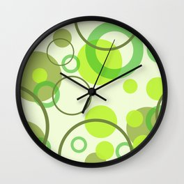 rings green color pattern 3 Wall Clock