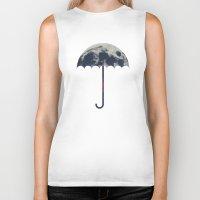umbrella Biker Tanks featuring Space Umbrella by filiskun