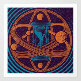 Time Infinity Planet System With Cosmos Sandglass Art Print