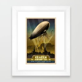 Steampunk Airship: Admiral Rosendahl Retro Travel Poster Art Print Framed Art Print