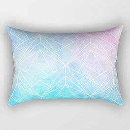 Geometric White Pattern on Watercolor Background Rectangular Pillow