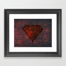 Rustic Red Superman Framed Art Print