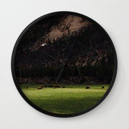 Buffalo in the Meadow Wall Clock