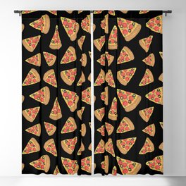 Pizza Party Black Pattern Blackout Curtain