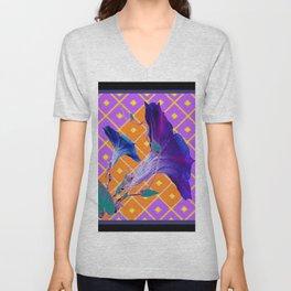 Black & Purple Morning Glories Pattern Unisex V-Neck