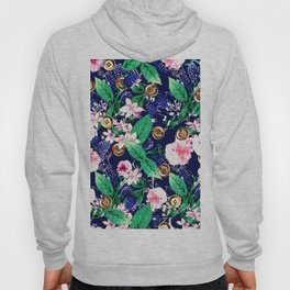 Floral and Buttons Hoody