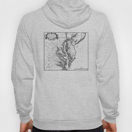 Vintage Map of The Chesapeake Bay (1719) BW Hoody