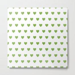 Polka dot hearts - greenery Metal Print