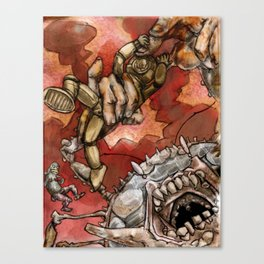 Wrestling the Clawless Crabboth for Kingship of the Seas Canvas Print