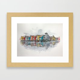 Reitdiephaven Houses - Mixed Media Illustration Framed Art Print
