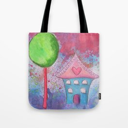 Whimsical House Watercolour Tote Bag