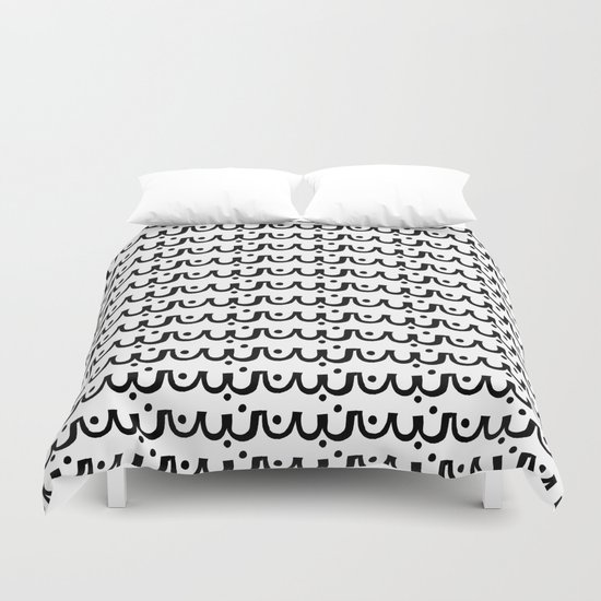 Abby - abstract scallop black and white minimal modern pattern print painting urban hipster dots Duvet Cover