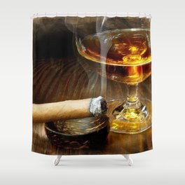 Cigar And Cordial Painting Cigars Shower Curtain