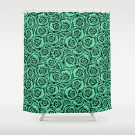 Green floral pattern Shower Curtain