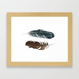 Blue and brown feathers Framed Art Print