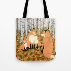 Fox family in the autumn forest Tote Bag