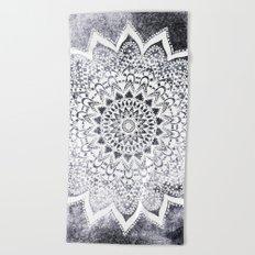 BOHO WHITE NIGHTS MANDALA Beach Towel