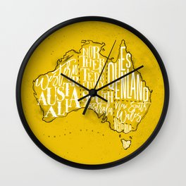 Map Australia vintage yellow Wall Clock
