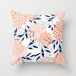 Floral Prints and Leaves, White, Coral and Navy Throw Pillow