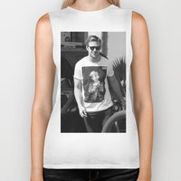 ryan gosling Biker Tanks featuring RYAN GOSLING WEARING T-SHIRTS MACAULAY CULKIN by nicksoulart
