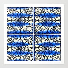 Blue Ink Shibori Tile Canvas Print