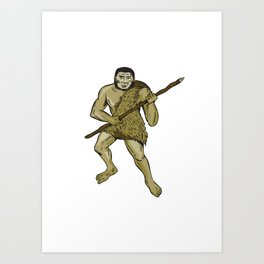 Neanderthal Man Holding Spear Etching Art Print