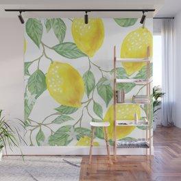 Lemons and Leaves Watercolor Illustration, The Branches Of The Lemon Tree, Watercolor Lemon Tree Wall Mural