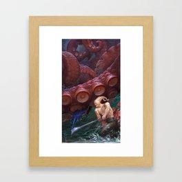 Demon vs Kraken Framed Art Print