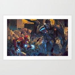 Iron Man Vs Cull Obsidian Art Print