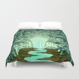 Fluorescent Waterfall on Surreal Bamboo Forest Duvet Cover