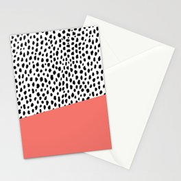 Dalmatian Spots with Coral Stripe (Pantone Living Coral) Stationery Cards