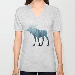 Misty Forest Moose Unisex V-Neck