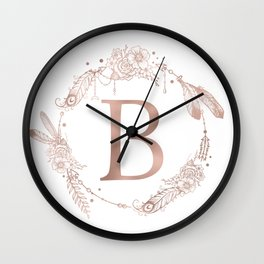 Letter B Rose Gold Pink Initial Monogram Wall Clock