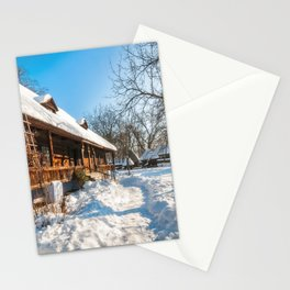 Fairy Tale Winter View at the Village Museum in Bucharest Stationery Cards