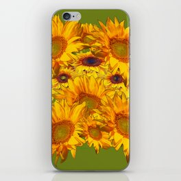 Avocado Color Sunflowers Abstract Art iPhone Skin