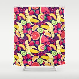 Fruit Cocktail on Blue Shower Curtain