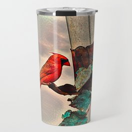 Cardinal at feeder Travel Mug
