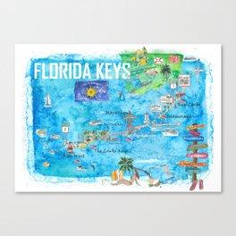 Florida Keys Key West Marathon Key Largo Illustrated Travel Poster Favorite Map 2nd Signpost Edition Canvas Print