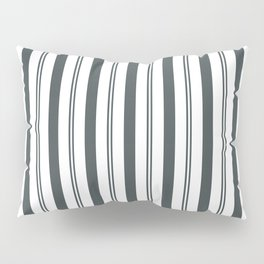 PPG Night Watch Pewter Green & White Wide & Narrow Vertical Lines Stripe Pattern Pillow Sham