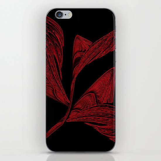 Embroidered Flower in Red iPhone & iPod Skin