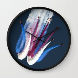 Red, white, blue smoke Wall Clock