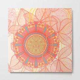 Hand Drawn Floral & Mandala 06 Metal Print