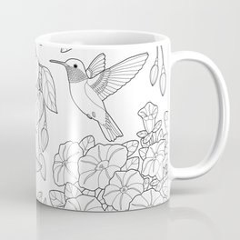 Hummingbirds and Flowers Coloring Page Coffee Mug